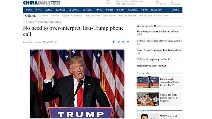 "Prensa china critica contacto de Trump con Presidenta taiwanesa: ""Expuso su inexperiencia"""