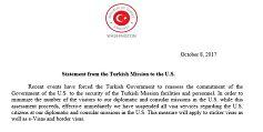 Turquía suspende la entrega de todos los tipos de visado para los ciudadanos de EE.UU