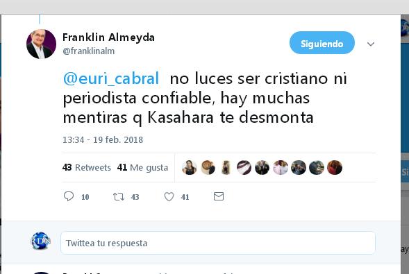 Franklin Almeyda: Euri Cabral no parece cristiano ni confiable