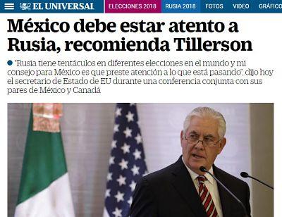 «Rusia tiene tentáculos»: ¿Por qué Tillerson usa la 'rusofobia' en su visita a México?