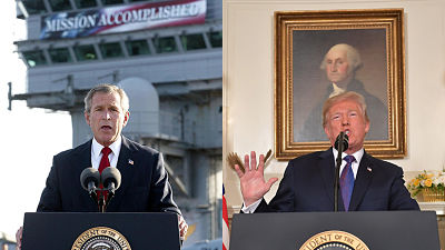 Misión cumplida frase de Bush que uso Trump aplaudiendo ataque a Siria similar al de Irak