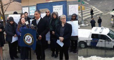 Espaillat, padres y activistas rechazan presencia de guardias migratorios frente a escuela del Alto Manhattan