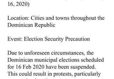 Embajada Americana manda alerta sobre suspension de eleciones. Advierte de disturbios.